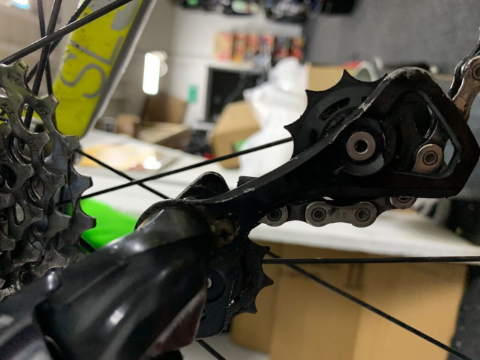 damaged gear set on bicycle