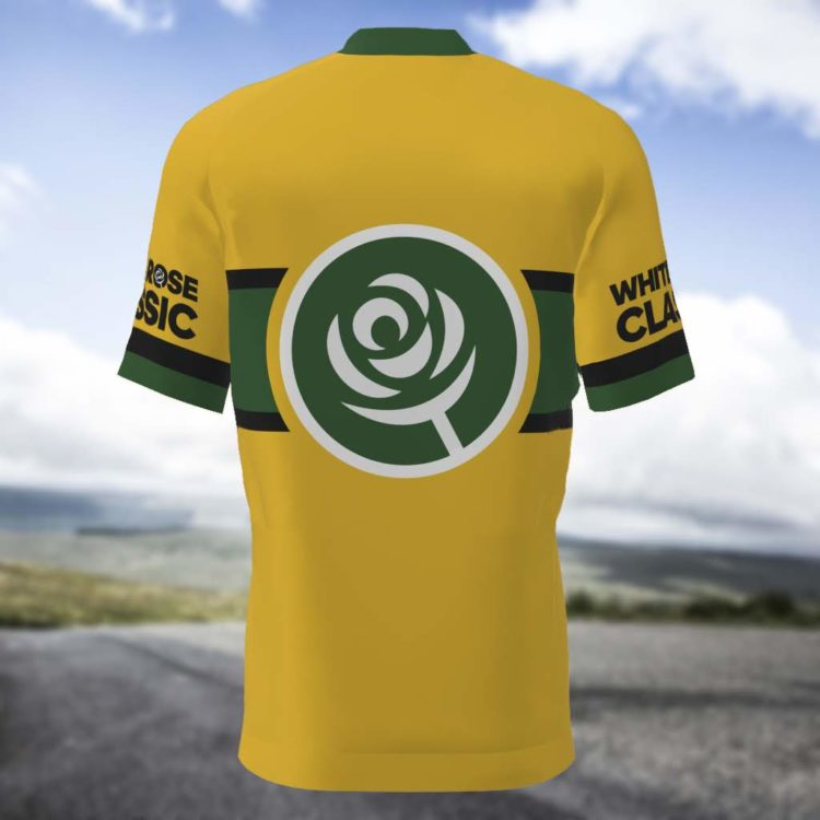 mens yellow cycling jersey back